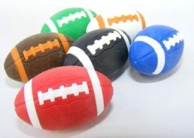 Iwako by Themes: 6 colours American Footballs Rugby Japanese Erasers