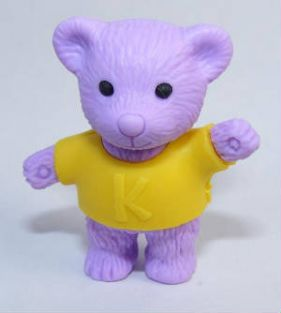 Iwako Animals: Yellow Shirt Purple Teddy Bear Eraser