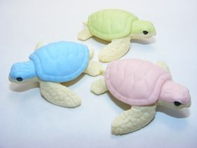 Iwako By Themes 3 colours Sea Animals Sea Turtle Japanese Erasers (3 pieces) from Japan