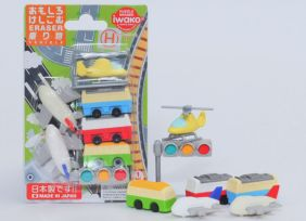 Iwako Novelty Japanese puzzle Erasers set - Airport Transports Vehicles