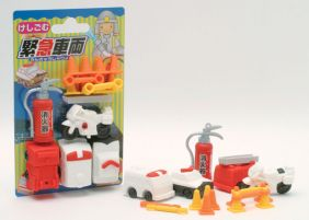 Iwako Erasers Blister Pack Fire Engine and Emergency Vehicles set