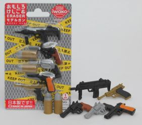 Iwako Erasers Blister Pack Small Model Machine Gun Pistol Bullets