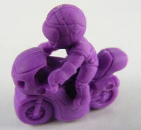 Iwako: Pair of Yellow & Purple Motorcycle Riders Pencil Top Erasers