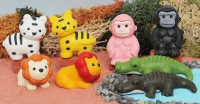 Iwako Safari Animals - 8 pieces Lion, Tiger, Crocodile and Gorilla Japanese Erasers from Japan