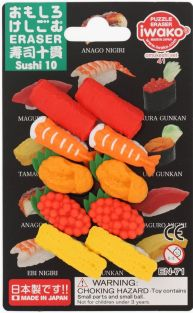 Iwako 10 pieces Sushi Japanese puzzle Erasers from Japan