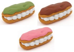 Iwako 3 pieces Eclair with Cream Japanese Puzzle Eraser from Japan
