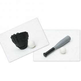 Iwako Baseball Bat and Black Glove Ball set Japanese Erasers