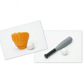 Iwako Baseball Bat and Brown Glove Ball Set Japanese Erasers