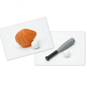 Iwako Baseball Bat and Brown Mitt Ball Set Japanese Erasers