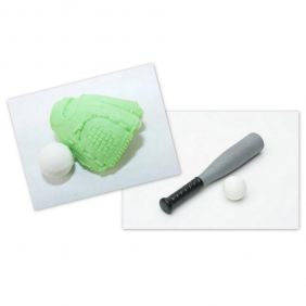 Iwako Baseball Bat and Pastel Green Glove Ball Set Japanese Erasers
