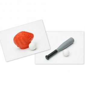 Iwako Baseball Bat and Red Mitt Ball Set Japanese Erasers