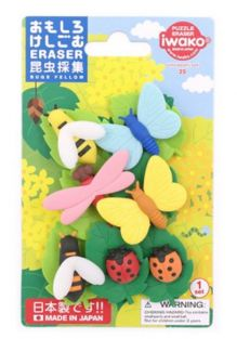 Iwako Japan Bugs World Butterfly, Bee, Ladybird and Dragonfly Erasers Blister Card
