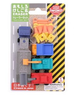 Iwako Erasers Blister Pack Trailer Construction Machine Trucks