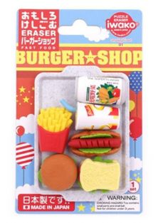 Iwako Erasers Blister Pack Fast Foods and drinks set