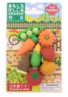 Iwako Erasers Blister Pack Japanese Fresh Vegetables set