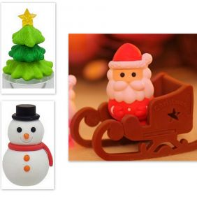 Iwako 4 pieces Christmas Tree Snowman Santa Claus Sleigh Japanese Erasers from Japan