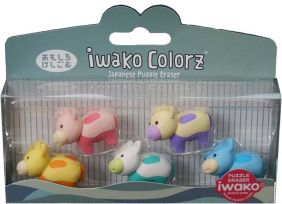 Iwako Colorz Farm Cow Japanese Puzzle Eraser Set