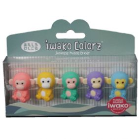 Iwako Colorz Jungle Animal Monkey Japanese Puzzle Eraser Set