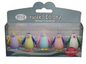 Iwako Colorz Seaworld Penguin Japanese Puzzle Eraser Set
