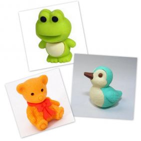 Iwako 3 pieces Frog Teddy Bear Duck Bird Japanese Eraser from Japan