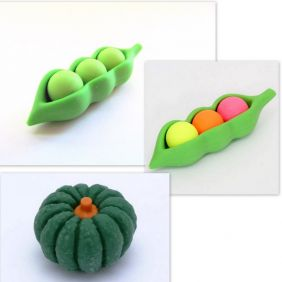 Iwako 3 pieces Green Pea Colourful Pea and Green Pumpkin Japanese Eraser from Japan