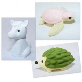 Iwako 3 pieces Horse Sea Turtle Hedgehog Japanese Erasers from Japan
