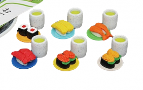 iwako mini japanese sushi and green tea (6 sets) Japanese erasers from Japan