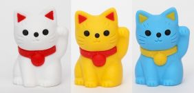 iwako 3 pieces Lucky Cat Pencil Top Japanese Erasers from Japan