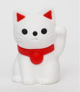 iwako Lucky Cat Pencil Top White Japanese Eraser from Japan