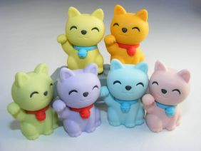 Iwako 6 Pastel Colour Lucky Good Fortune Cat Japanese Erasers from Japan