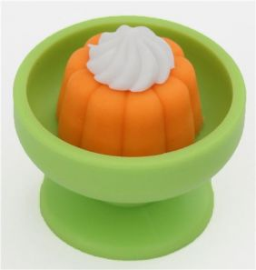Iwako Snack Orange Jelly with Cream in Green Bowl Eraser from Japan