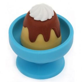 Iwako Snack Pudding with Cream in Blue Bowl Eraser from Japan