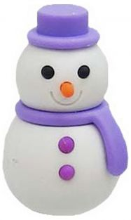 Iwako Purple Scarf Winter Snowman Japanese Eraser from Japan