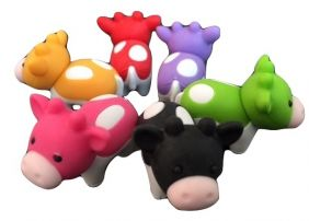 Iwako Zoo Animal 6 Colours Cow Japanese Erasers from Japan