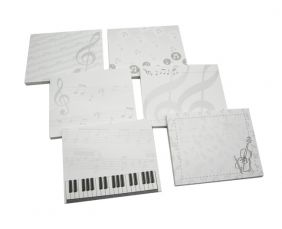 Music Themed Self-stick Sticky Notes 40 Sheets Memo Pack (1 Pack Only - Random Design - Choice of 6 Design)