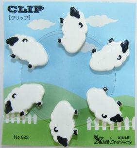 Kawaii 6 pieces Animal Shape Small Clips - Sheep