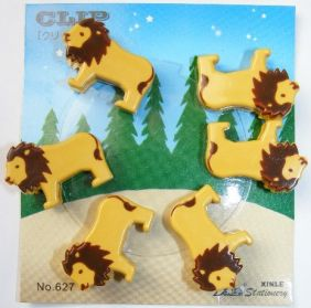 Kawaii 6 pieces Animal Shape Small Clips - Lion