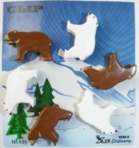 Kawaii 6 pieces Animal Shape Small Clips - Brown and Polar Bear