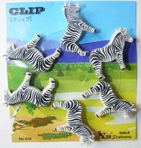 Kawaii 6 pieces Animal Shape Small Clips - Zebra