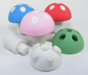 Kawaii by Themes: 4 Colours Button Mushroom Erasers (Colour vary from image)