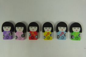 Kawaii Cute Kokeshi Girl Doll Shape Eraser (6 colours)