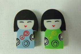 Kawaii Cute Kokeshi Girl Doll Shape Erasers (2 pieces - Blue & Green)