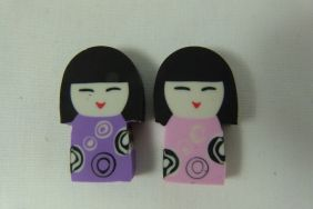 Kawaii Cute Kokeshi Girl Doll Shape Erasers (2 pieces - Purple & Pink)