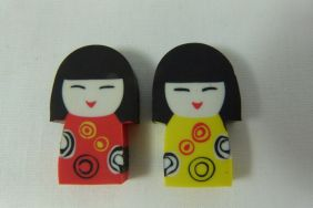 Kawaii Cute Kokeshi Girl Doll Shape Erasers (2 pieces - Red & Yellow)
