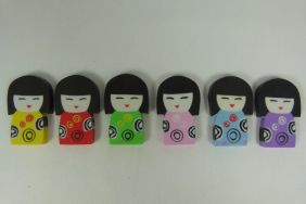 Kawaii Cute Kokeshi Girl Doll Shape Erasers (6 colours)