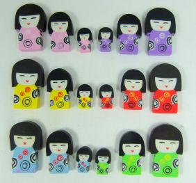 Kawaii Cute Kokeshi Girl Doll Shape Erasers (18 pieces - mini, medium and big size)