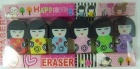 Kawaii Cute Kokeshi Girl Doll Shape Erasers (6 pieces mini 2.5cm height)
