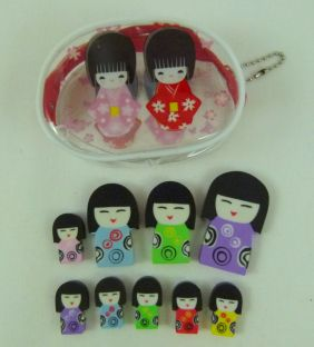 Kawaii Cute Kokeshi Girl Doll Shape Erasers in PVC Plastic Pouch