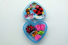Kawaii Insect Erasers in Heart Shape Blue Plastic Box