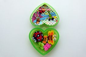 Kawaii Insect Erasers in Heart Shape Green Plastic Box